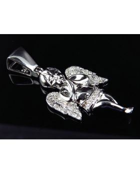 1.5 Inch Stout Angel Pendant in 10k White Gold (0.50 ct)