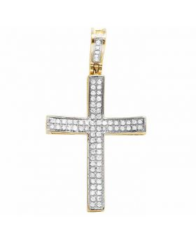 10K Yellow Gold Concave Cross Real Diamond Pendant .30ct 1.2""