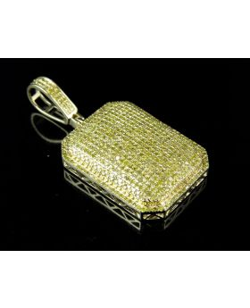"""10K Yellow Gold Real Canary Diamond Dome Pillow Pendant Charm 1.40ct 1.5"""""""