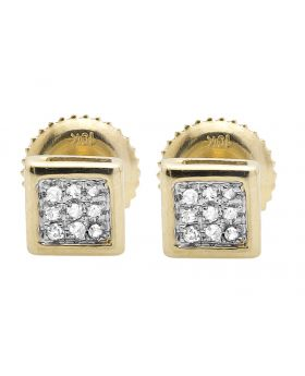 10K Yellow Gold 5MM Square Kite 1/20th ct. Diamond Stud Earring