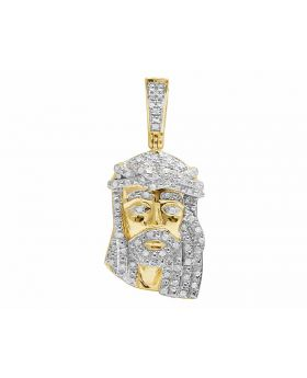 10K Yellow Gold Real Diamond Jesus Piece Pendant (0.33ct) 1.3""