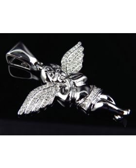 Prayer's Angel Pendant in 10k White Gold (.60 Ct)