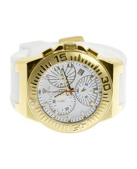 Mens Gold Tone Aqua Master Joe Rodeo Jojo 49mm White Silicone Band Chronograph Watch