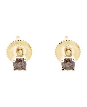 10K Yellow Gold Brown Cognac Diamond Solitaire Stud Earring 0.26Ct
