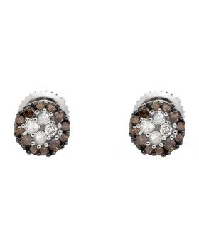 10K White Gold Halo Frame Brown and White Diamond Stud Earring 0.33Ct.