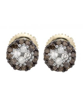 10K Yellow Gold Halo Frame Brown and White Diamond Stud Earring 0.33ct.