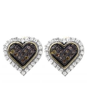 10K Yellow Gold Heart Brown Cognac And White Diamond Earring Stud 0.25ct