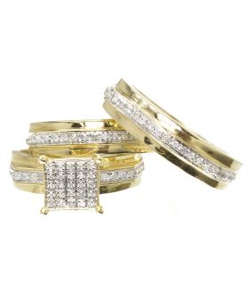 Pave Diamond Trio Ring Set in Yellow Gold (0.50 ct)