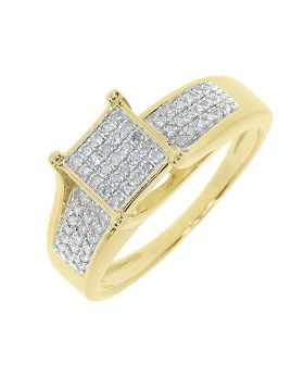 Square Pave Diamond Engagement Ring in Yellow Silver (0.33 ct)