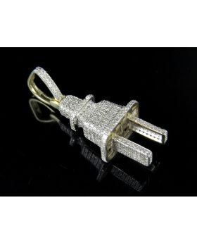 Men's 10K Yellow Gold Real Diamond 3D Plug Pendant 1.25ct 1.5""