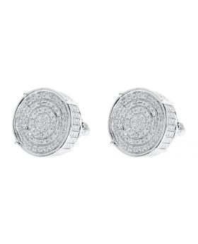 12mm Round Pave Diamond 3D Studs Earrings in White Silver (0.50 ct)