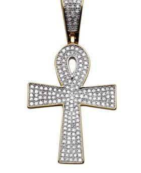 Yellow Gold Mens Iced Out Ankh Genuine Diamond Charm Pendant .65 Ct 1.5""