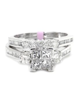 Princess Cut Bridal Diamond Engagement Ring in 10K White Gold (1.0 Ct)