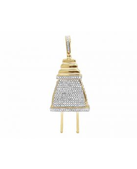 10K Yellow Gold Real Diamond Plug Pendant Charm 1.75ct 2.2""