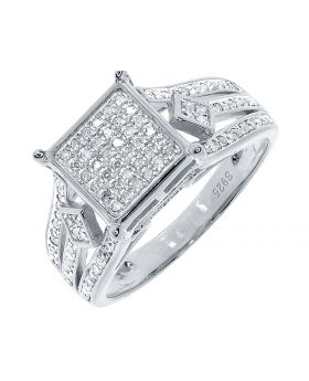 Square Pave Diamond Engagement Ring in Sterling Silver (0.66 ct)