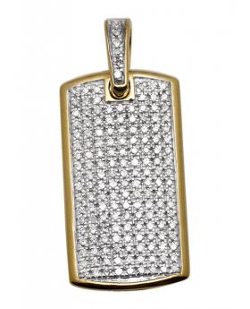 Yellow Gold Mens Iced Out Dogtag Genuine Diamond Pendant 0.65 Ct 0.9""