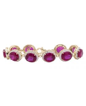 Men's Yellow Gold Royal Ruby Gemstone Diamond 7.5 inch Bracelet (3.50ct)