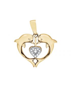 10K Yellow Gold Heart Dolphin Diamond 3/4 Inch Pendant Charm 0.03Ct.