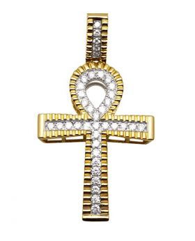Mens Yellow Gold Domed Ankh Genuine Diamond Pendant Charm 1.20 Ct 1.9""
