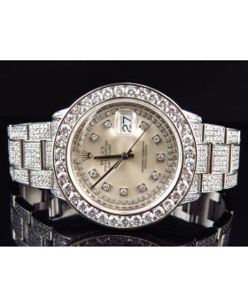 Rolex Datejust Oyster Full Iced with Silver Diamond Dial Diamond Watch (17.5 Ct)
