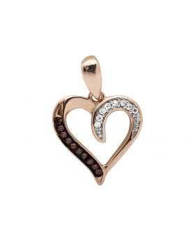 "10K Rose Gold Heart Red And White Diamond 1/2"" Pendant Charm 0.05ct."