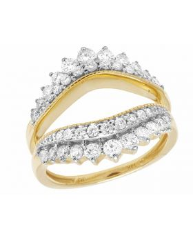 Ladies 14K Yellow Gold Real Diamond 18MM 2 Rows Solitaire Enhancer Ring 1 Ct