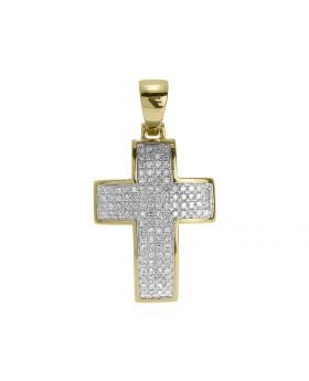 "1.3"" Mens Ladies Pave Diamond Cross in Yellow Gold (0.65 ct)"