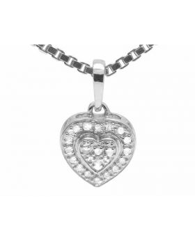 "10k White Gold Dual Heart Real Diamond Pendant Box Chain 18"" (0.10 ct)"