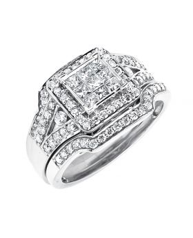 14K White Gold Invisible Princess Stackable Bridal Set Wedding Ring 1.25ct.