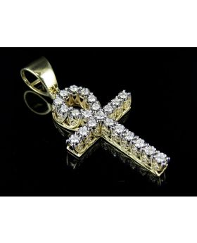Men's 10K Yellow Gold Real Diamond 3D Miracle Ankh Cross Pendant 1.0ct 1.75""
