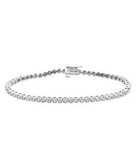 Ladies .925 Sterling Silver Pronged Round Diamond Bracelet .50 ct