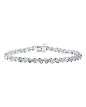 White Gold Finish Ladies 'S' Style Tennis Diamond Bracelet (0.25 ct)