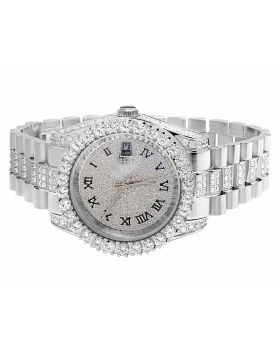 Mens Jewelry Unlimited White Gold Plated Simulated Diamond Watch 40MM