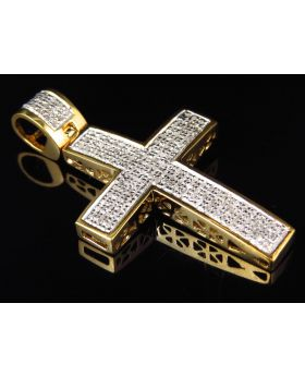 Genuine Diamond Mini Studded Pave Cross Pendant Finished In Yellow Gold (0.75ct)