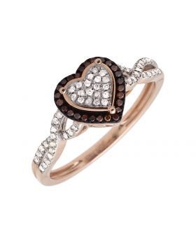 10K Rose Gold Heart Infinity Shank Brown/White Diamond Ring 0.20ct.