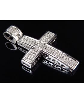 Genuine Diamond Mini Studded Pave Cross Pendant Finished In White Gold (0.75ct)