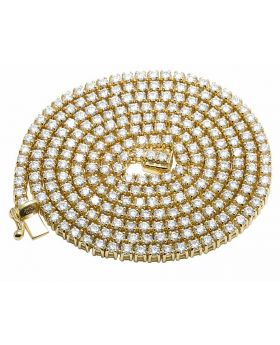 Men's 14K Yellow Gold Real Diamond 1 Row Prong Chain Necklace 24.86CT 4MM