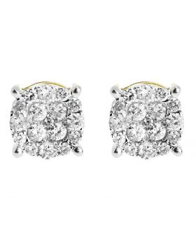 7mm Cluster Round Diamond Earrings in 10k Gold (0.49 ct)