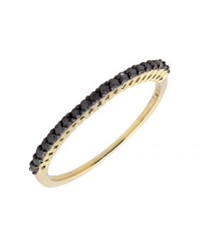 10K Yellow Gold One Row Black Diamond Wedding Band Ring 1/4ct.