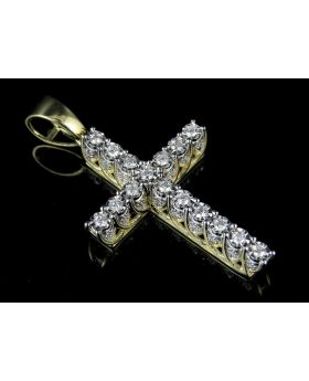 Men's 10K Yellow Gold Real Diamond 3D Solitaire Cross .65ct 1.7""