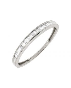 10K White Gold One Row Baguette Diamond Wedding Ring Band 0.15ct