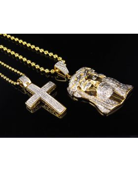 "Genuine Diamond Jesus Piece & Cross With Chain Combo In Yellow Gold Finish (0.75ct + 0.75Ct) 1.75"" +1.5"""