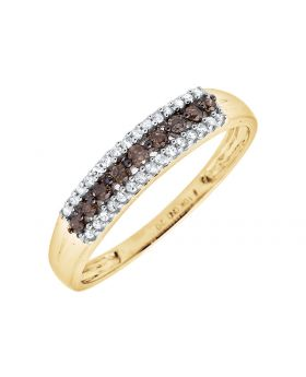 10K Yellow Gold 3 Rows Brown and White Diamond Wedding Ring Band 0.20ct.