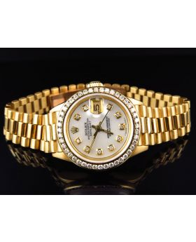 18k Ladies Yellow Gold Rolex Presidential Datejust with 2.5 Ct Bezel