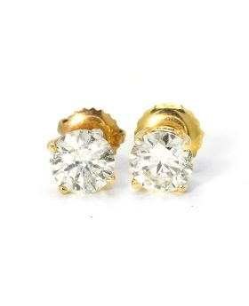 Round Cut Solitaire Stud Earrings in 14K Yellow Gold (1.0 Ct)