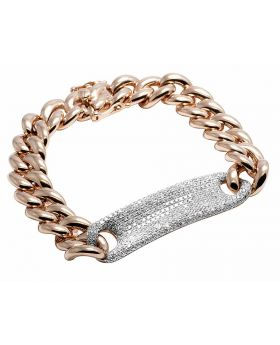14K Rose Gold Real Diamond Cuban Tag Bracelet 3.15ct 7""