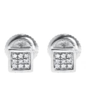 Round Pave Diamond Bezel Studs Earrings (0.05 ct)
