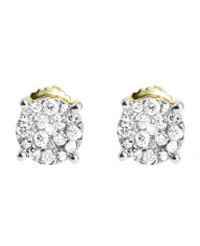 6mm Cluster Round Diamond Earrings in 14k Gold (0.24 ct)