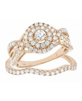14K Rose Gold Halo Genuine Diamond Solitaire Engagement Wedding Ring Set 1 CT