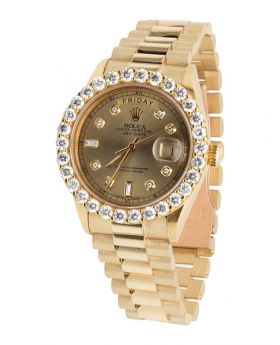 Rolex President 18k Yellow Gold Day-Date President with Diamond Bezel (5.5 ct)